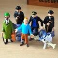 As Aventuras de Tintin 6 pçs/lote tintin Milou PROFESSOR Dupont Capitão Haddock 3 ''Figura de Ação DO PVC Coleções