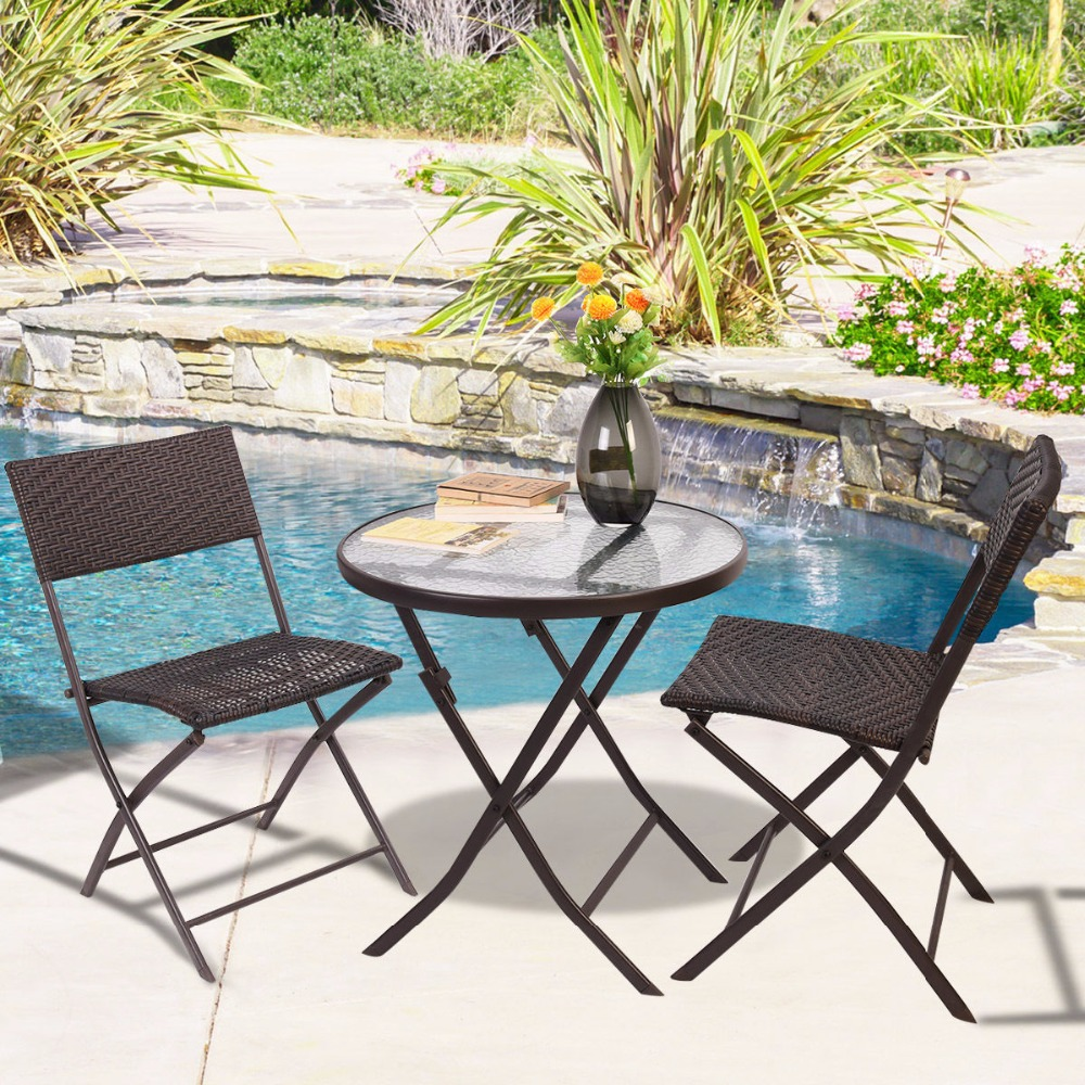 goplus patio furniture folding 3pc table chair set bistro style backyard ratten