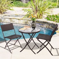 GOPLUS Patio Furniture Folding 3PC Table Chair Set Bistro Style Backyard Ratten Free Shipping HW51711
