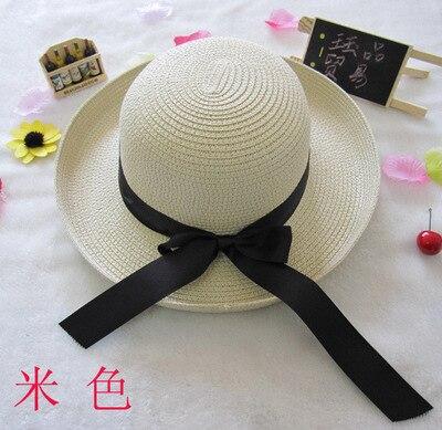 Лето Леди Элегантный путешествия большой лук Beach Sun брим керлинг шляпа солнца оптовая соломы женщины шапки