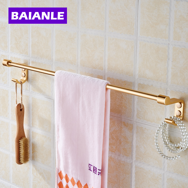 Wall Mounted Towel Bar With Hooks Single Towel Rack Railof Decorative  Bathroom Accessories Space Aluminum Wall