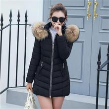 2018 New 100% true raccoon collar Female Women Winter Coat Thick Cotton Jacket Womens Outwear down jacket