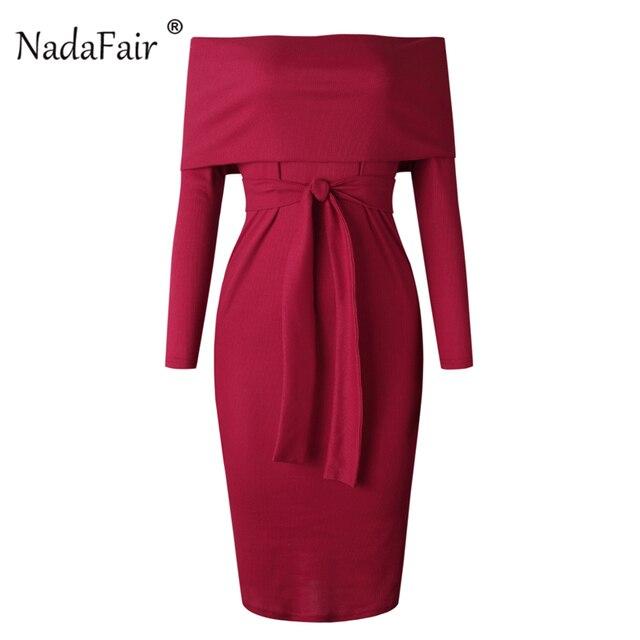 3c9cbd086d39 Nadafair Long Sleeve Midi Knitted Dress Women Off Shoulder Lace Up Black Bodycon  Dresses Red Autumn Winter Pencil Dress Female
