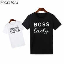 Pkorli Boss Lady Mini Boss T Shirt Funny Letter Print Matching Family T Shirts Cotton Short Sleeve Mother And Baby T-Shirt