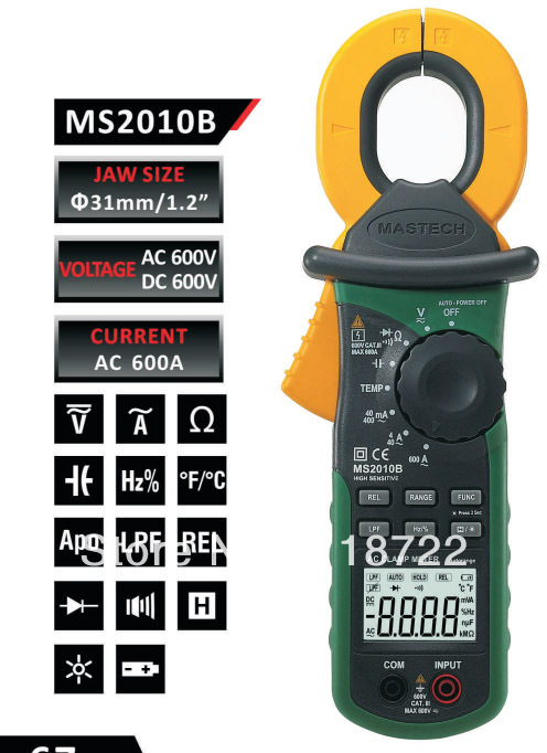 Freeshipping Multifunction High Sensitivity Leakage Current Clamp Meter DMM MASTECH MS2010B etcr030 high accuracy clamp leakage current sensor