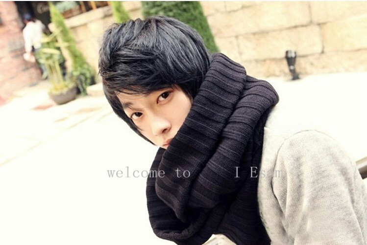 Image 3 - Thick Warm Lic Scarves for Men Black Knitted Men's Winter Scarf Male Gray Ring Carves Winter Knitted Infinity Man Scarf Collar-in Men's Scarves from Apparel Accessories