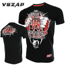 VSZAP Fitness T-Shirt Men Elastic Short-sleeved Cotton T-shirt MMA Fight Muay Thai Sanda UFC Fighting Martial Arts Sporting