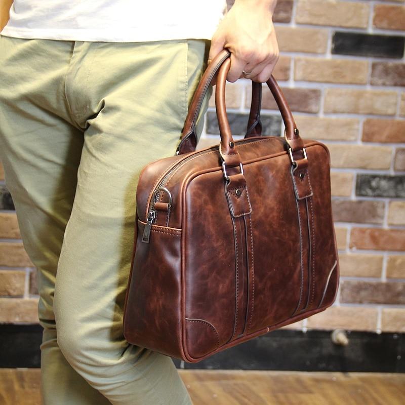 New Fashion Leather Bag Men Famous Brand Shoulder Bag Men Messenger Bags Fashion Men's Travel Bags Briefcase Laptop 14