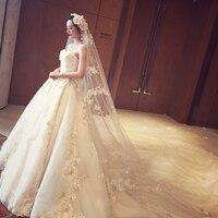 Роскошные Королевские Свадебные платья 2019 без бретелек жемчуг аппликация 3D Цветы Кружева собора Шлейфы для свадебных платьев сексуальное