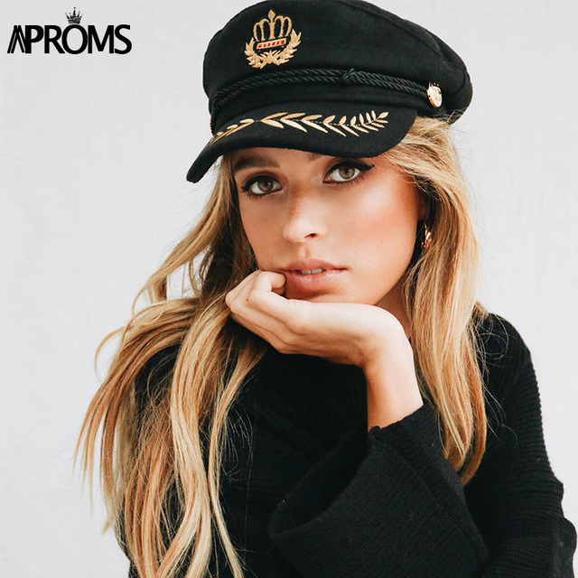 Aproms Gold Embroidery Rope Flat Cap Women 2019 Black Hat Female Casual Summer Autumn Street Fashion Outfist 90s Girls Beret Hat
