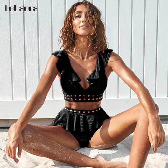 2019 New High Waist Bikini Swimwear Women Swimsuit Push Up Bikinis Women Bathing Suit Biquini Ruffle Bikini Summer Beach Wear 5