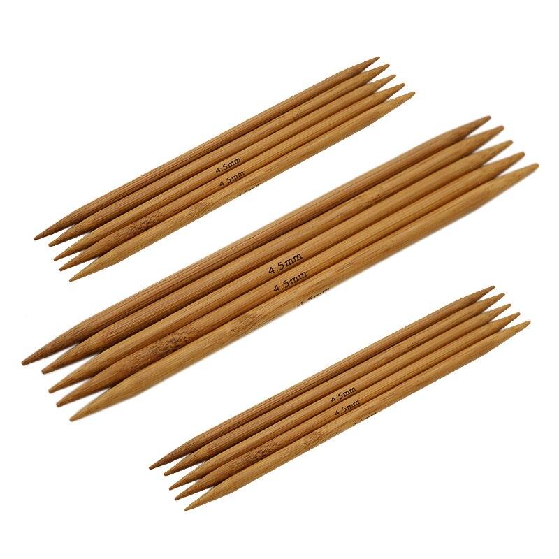 High Quality Double Pointed Carbonized Bamboo Knitting Needles Wood 55Pcs Of 11 Sizes 5'' 13cm