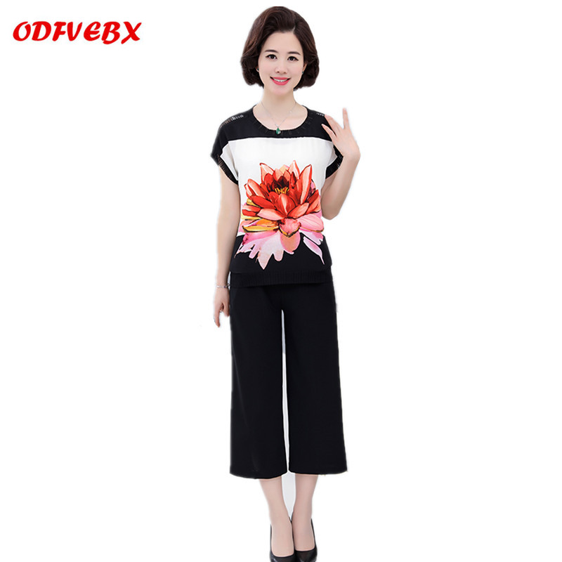 2019 Middle aged Female two piece fashion plus size chiffon short sleeved T shirt still wide leg pants suit Women's ODFVEBX