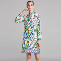 Qian Han Zi New designer fashion short dress Long sleeve bow collar flower print elegant vestidos mujer casual women's dres