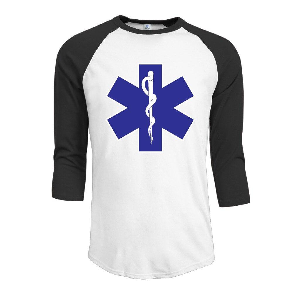 Paramedic Symbol O Neck Man 34 Sleeve Raglan Baseball T Shirt