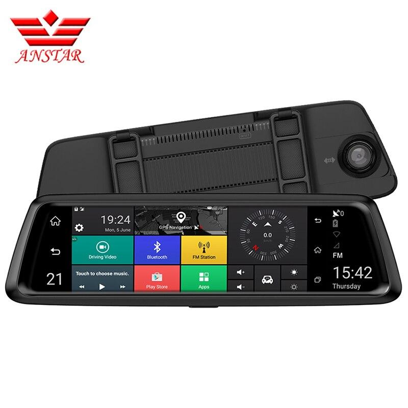 ANSTAR 4g 10 IPS Dvr De Voiture 1080 p Double Lentille Voiture DVR Caméra Auto Bluetooth FM Rétroviseur vidéo Enregistreur GPS Navigation Russe