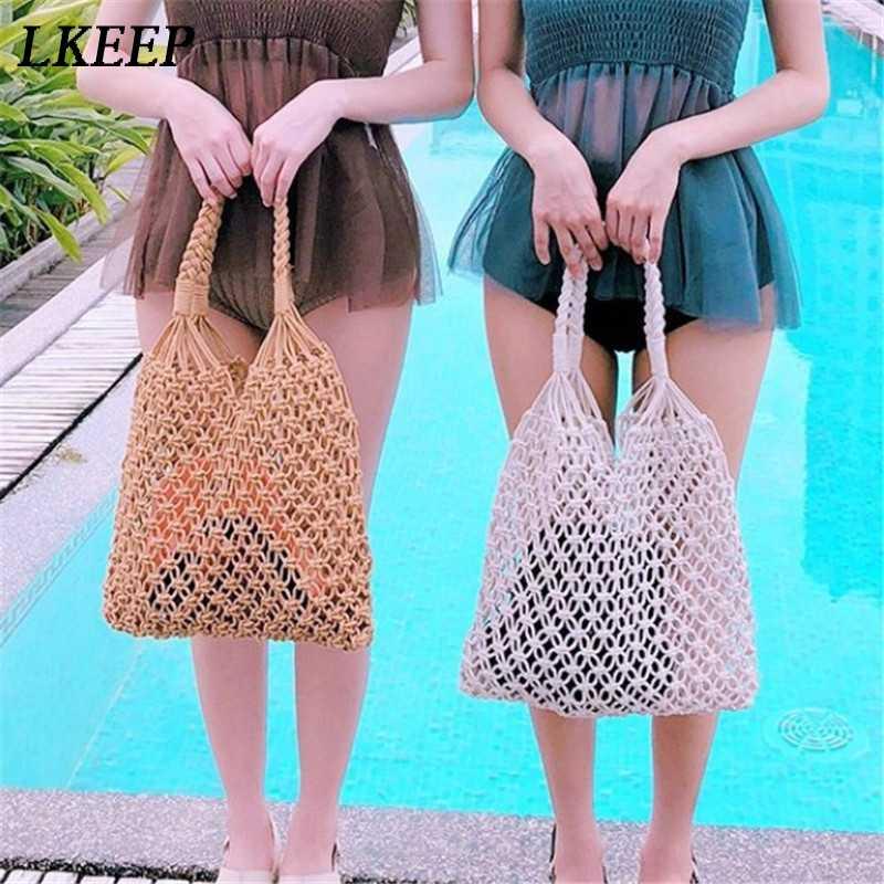 Nowa siatka torba na zakupy wielokrotnego użytku do przechowywania owoców torebka skrzynki na zakupy dla kobiet Mesh netto pleciona torba sklep torba tote na zakupy