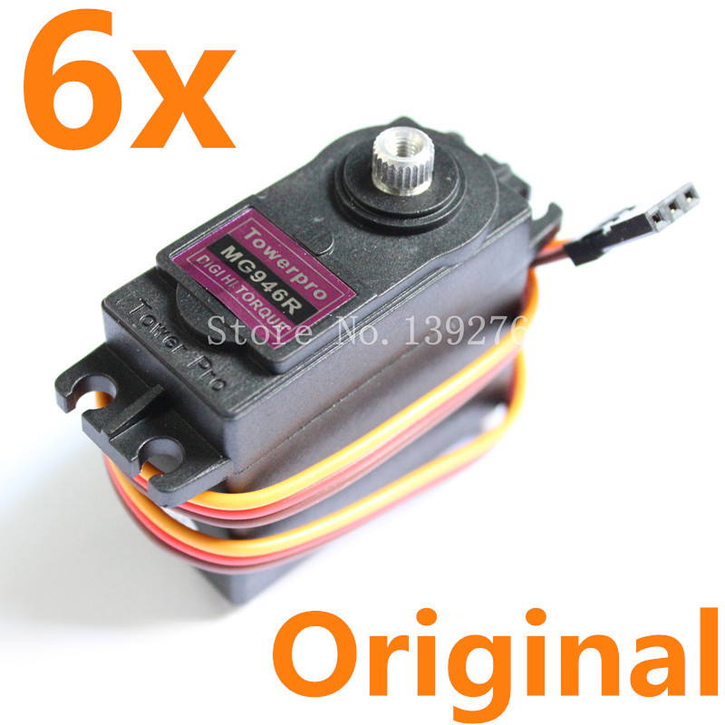 6pcs/lot Geniune TowerPro MG946R Servo Digital Full Metal Gear High Torque 13kg Double Bearing For JR RC Robot Car Plane 35kg high torque coreless motor servo rds3135 180 deg metal gear digital servo arduino servo for robotic diy rc car