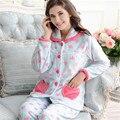Adoro Novas Mulheres Bonito Fofo Coral Velvet longo-luva pajama define inverno quente sleepwear noite terno ocasional do velo impressão conjunto