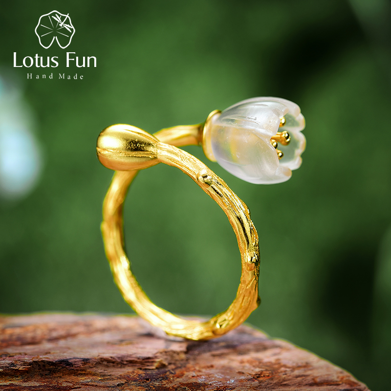 Lotus Fun Real 925 Sterling Silver Natural Crystal Handmade Designer Fine Jewelry Delicate Carved Flower Rings For Women Bijoux