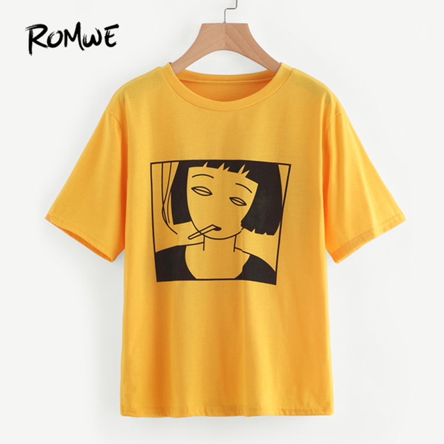 ad1732ca1d ROMWE Yellow Girl Print Front Tee Shirt Women Pattern Casual Summer Top  2018 New Round Neck Short Sleeve Graphic T-Shirt