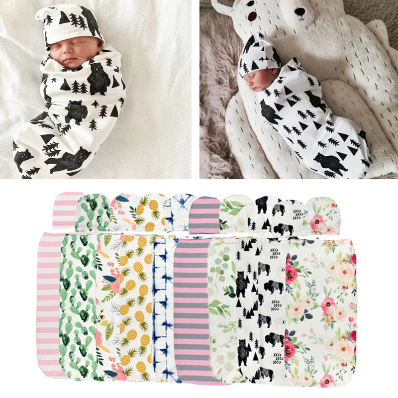 Baby Swaddle Blanket +Cap Newborn Cocoon Wrap Cotton Swaddling Bag Sack Bedding Sep7-A