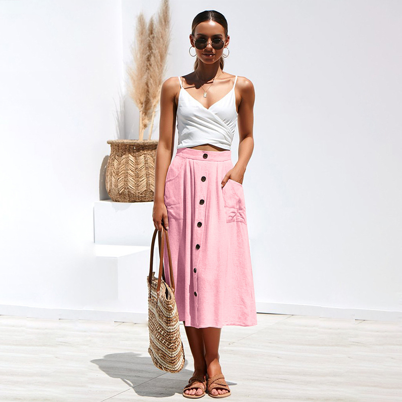 Women skirt Cotton Umbrella skirt summer 2019 robe femme Solid color Casual buckled loose pocket vogue skirt New arrive fashion in Skirts from Women 39 s Clothing