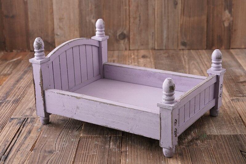 Petit lit en bois design original coloré en option lit bébé pliable et amovible lit nouveau-né photographie accessoires - 4