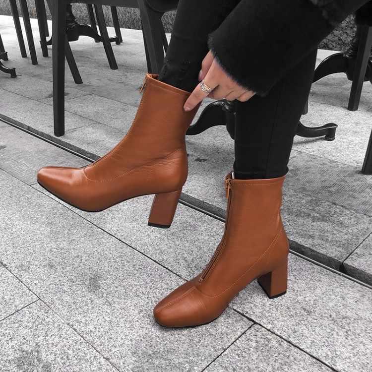 MLJUESE 2019 kadın ayak bileği çizmeler inek deri fermuarlar sarı renk yüksek topuklu çizmeler kış kısa peluş ayak bileği çizmeler parti elbise