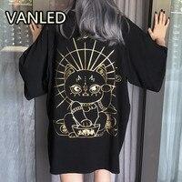 Fashion Harajuku O Neck Printing Oversize Short Sleeve Loose Women T shirt