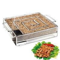 1 Set BBQ Kalten Rauch Generator Speck Fisch Kreative Lachs Fleisch staub Heißer und Rauchen Lachs Fleisch Brennen Raucher Werkzeuge-in Netze aus Heim und Garten bei