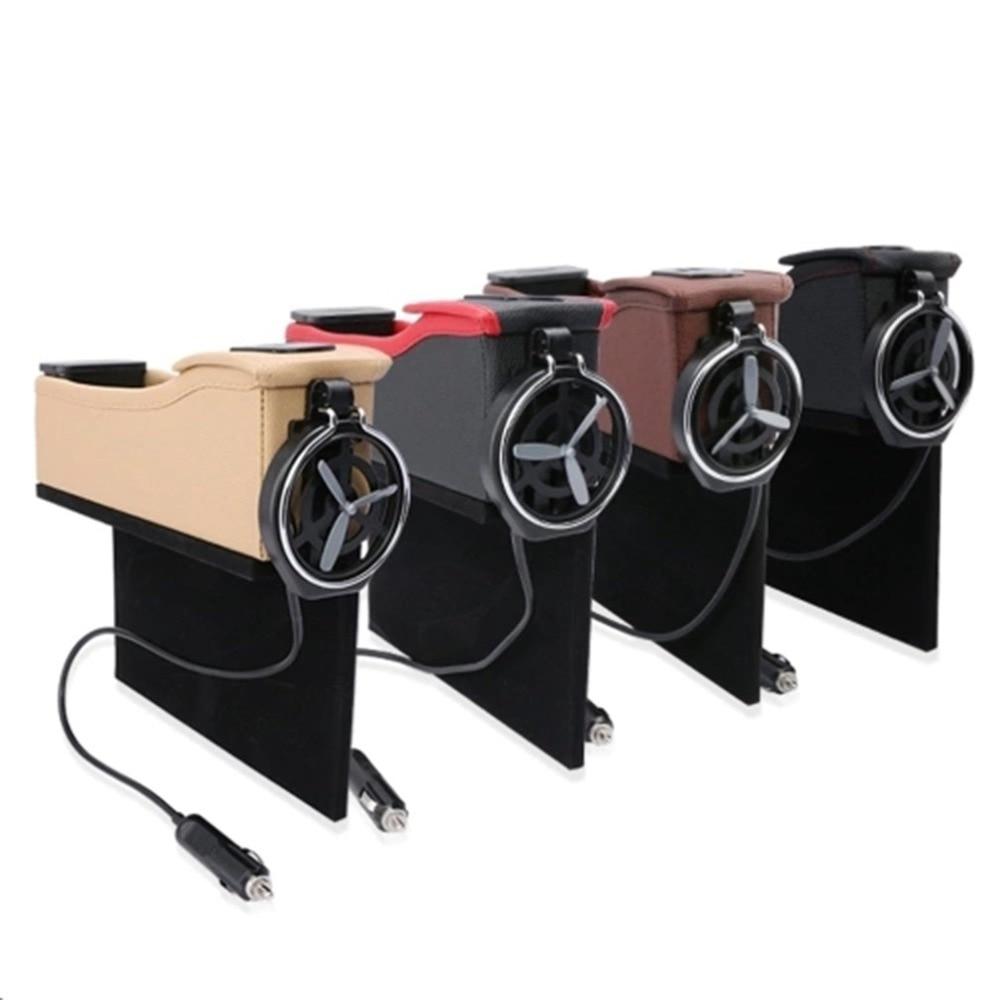 Double USB Port multifonction en cuir boîte de ramassage siège de voiture tasse bobine poche rangement organisateur voiture boîte de rangement