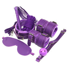 7pcs BDSM sex bondage set slave collars leather whip gag plug handcuffs ankle cuffs 5m rope bed  in adult dames