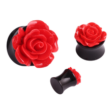 Pair Fashion Rose Flesh Tunnels Ear Plugs Tunnels Piercing Body Jewelry Summer Style Acrylic Resin Ear Expander Stretcher Reamer