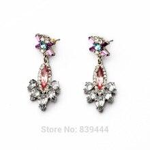 New Arrival Cute Young Women Jewelry Elegant Transparent Crystal Luxury Flower Drop Women Earrings