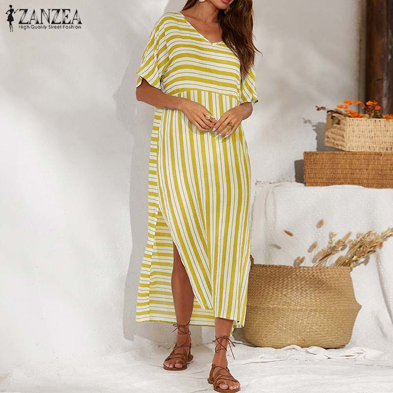 ZANZEA Women Tie-Dye Printed Summer Beach Dress Holiday Party Long Maxi Dresses