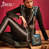 INDRESSME 2018 Fashion V Neck Rivet Sexy Business Pant Suits Set Blazers Formal Women OL Elegant Skinny 2 Pieces Sets