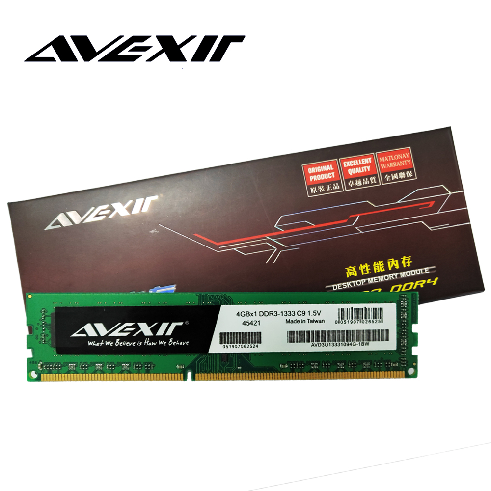 AVEXIR ram ddr3 4gb AMD Memory Frequency 1333MHz Desktop memory Interface Type 240pin 11-11-11-28 CL=11 ddr3 1333	Single RAMs