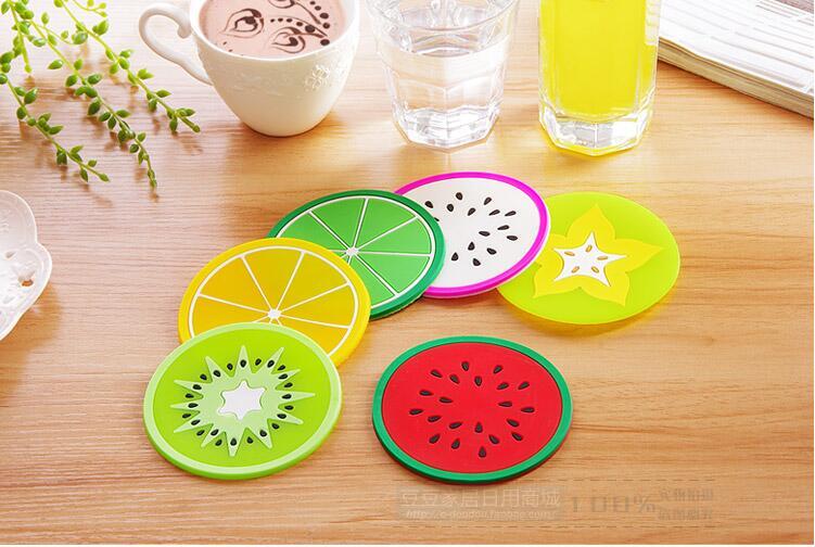 Geléia da Cor da Fruta Esteira do Copo de Isolamento Muito Forma Coasters Criativa Skid Gel Silicone Rodada Isolamento Térmico Almofada Antiderrapante