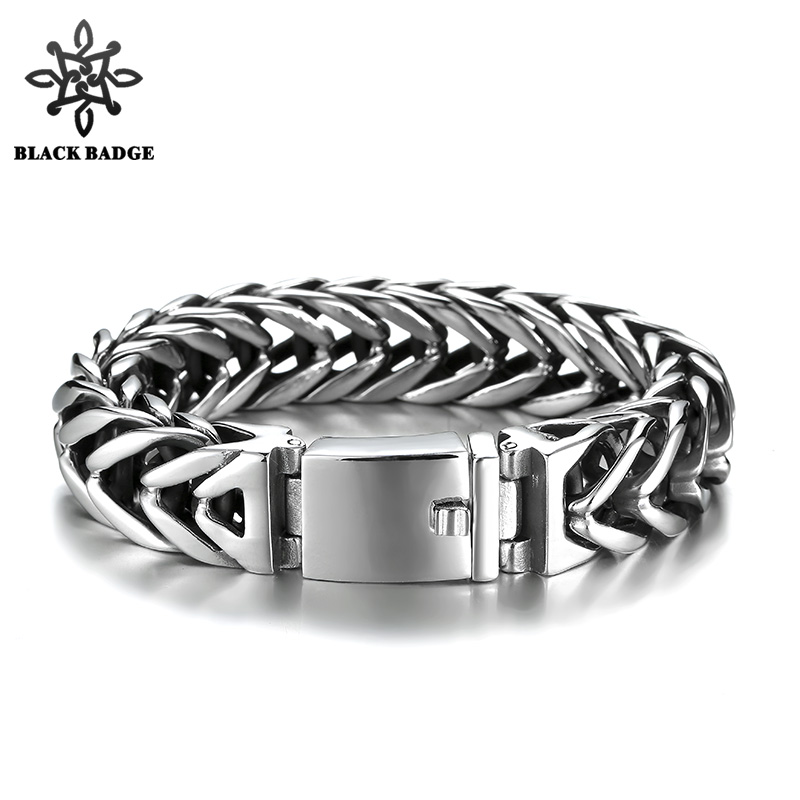 Men Silver Foxtail Box Link 316L Stainless Steel Bracelet 18mm Wide Hip Hop Men Titanium Stainless Steel Bracelet Jewelry titanium steel link cubic zirconia studded couple bracelet