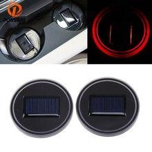 POSSBAY 1 Pair Solar Power LED Light Car Water Cup Holder Bottom Mat Pad Auto Waterproof Anti-slip Mat Pads 68mm