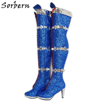 Sorbern Royal Blue Sequins Thigh High Boots Unisex Straps Plus Size 5 15 Custom Thick Legs Womens Lace Up Dress Boot For Shows