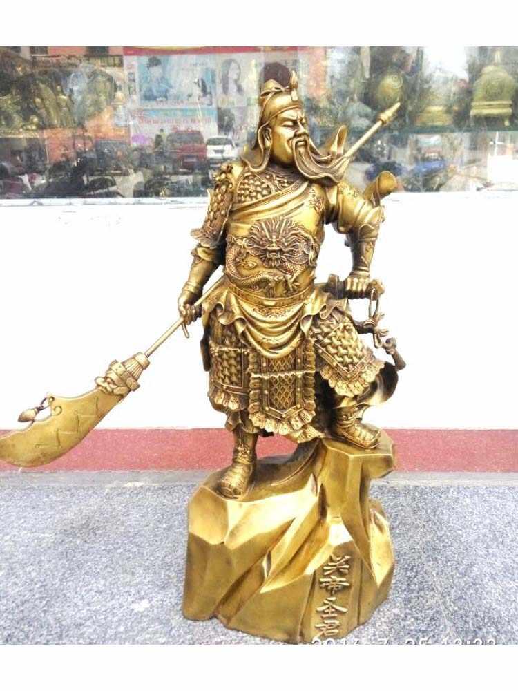 Китайский традиционный Медь Бронзовый Дракон Гуань Гун Гуань Ю держать Ножи Бог войны статуя