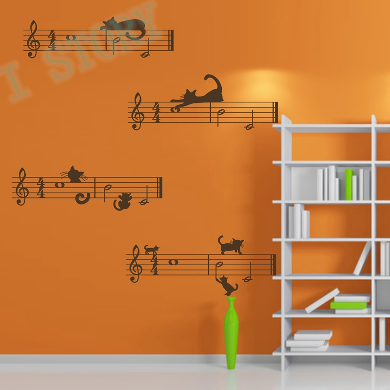 Wall Sticker Music Notes With Cats , Removable Vinyl Decal ...