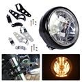 "fit for Harley Yamaha Honda Suzuki Motorcycle 7"" Clear LED Headlight Halogen Turn Signal Indicators Blinker + 33-45mm Brackets"