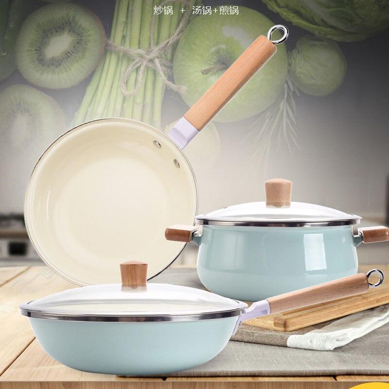 Ensemble de poêle japonaise avec émail émail poêle trois pièces wok poêle à soupe poêle antiadhésive marmite avec couvercle de pot écologique