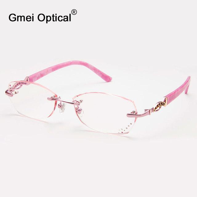 Gmei Q5815 Sem Aro Óptico Óculos Moldura para Mulheres Óculos Óculos de Diamante De Corte