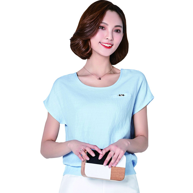 3e31d0864dd5 Chemise Femme 2017 Women Summer Fashion Tops Batwing Sleeve Loose Casual  Ladies Plus Size Cotton Blouses Vintage Woman Clothes