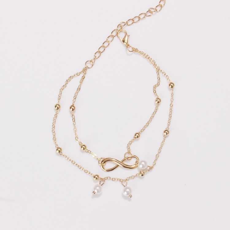 2019 uroczy list nieskończoność miłość łańcuszek na kostkę i bransoletka imitacja Pearl wielowarstwowe łańcuch kostki bransoletka dla kobiet lato plaża biżuteria