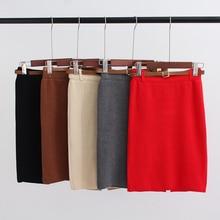 2016 autumn and winter women Skirts Casual  High Waist mini Knitted Pencil Skirt Elegant slim female skirts